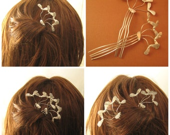 Maple seed pod Helicopter hair pin Sterling silver hair spear comb Bridal