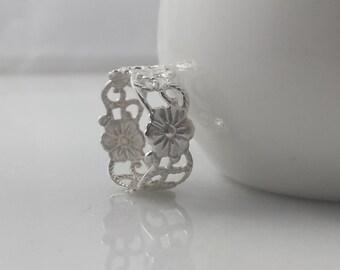 Sterling Silver Floral Vine Ring- Sterling Flower Ring
