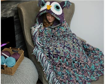 Owl Blanket Crochet Pattern - Crochet Pattern for Owl Blanket Costume - Bulky & Quick Owl Crochet PATTERN by MJ's Off The Hook Designs