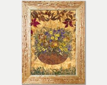 Framed Flowers Pressed Flower Art Pressed Flowers Dried Flowers Pressed Flower Art Kitchen Art Herbarium Dried Botanicals Original Herbarium