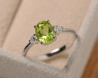 Natural peridot ring silver, oval gemstone, August birthstone