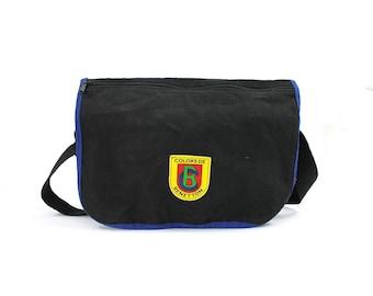 Colors Of Benetton / / noir sac de messager / / Messenger sac pour ordinateur portable / / noir sac à dos en toile / / 90 s sac à dos / sac d'école des années 90