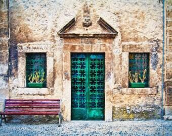 Old Iron Door, Scanno Italy,  Door Windows Scanno, Green Door Photo, Unique Green Iron Door, Wall Decor, Fine Art Photograph