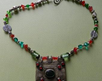 KUSHI :Old Bedouin  pendant on matching necklace