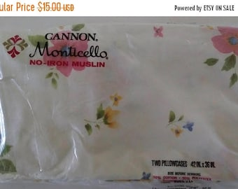 On Sale Cannon Monticello, Pair Pillowcases, White with Floral Pattern, Cotton/Polyester, Vintage and NEW, No-Iron Muslin Pillowcase Pair, N