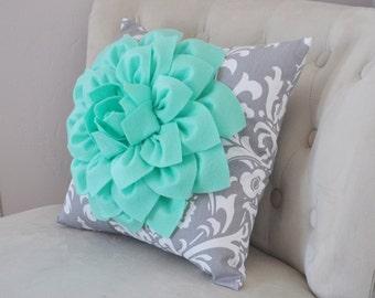 Mint Green Dahlia on Gray Damask Pillow - Decorative Pillow - Ozborne Pillow -