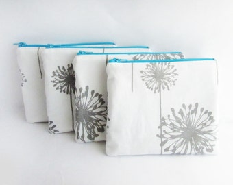 Set of 4 - Dandelion Makeup Bag - Cosmetic Bag - Wallet - Personalized Zipper Pouch - Bridesmaid clutch Bags - Small