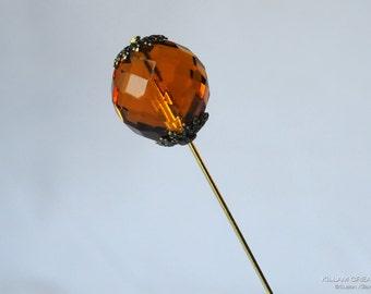 Amber Crystal Stick Pin, 3 Inch Stick Pin, Lapel Pin, Scarf Pin H0357