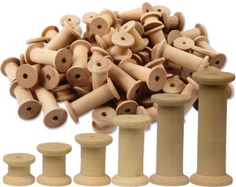 Wooden Cotton Reels assorted sizes 70 Spools
