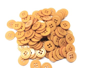 """Earth Yellow Buttons, 27 Line, 43/64"""" (17mm)  - Medium, Pack of 100"""