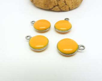 4 round charms 10mm yellow - enameled (USAI26) stainless steel base