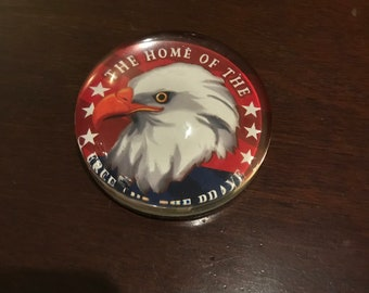 Vintage Paperweight/ Glass/ Patriotic/Heavy