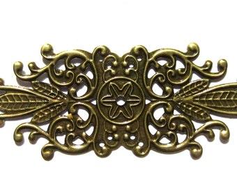 10 Filigree pendants antique bronze filigree flower wraps jewelry supplies 8-553