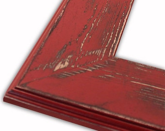 Distressed Frame, Ashley Colonial Red Picture Frame, Hand Painted, Rustic Home Decor, Variety of Sizes Available, 16x20, 8x10, 5x7, 4x6