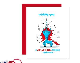 Kids Christmas Card - Unicorn Card - Christmas Card - Unicorn Greeting Card