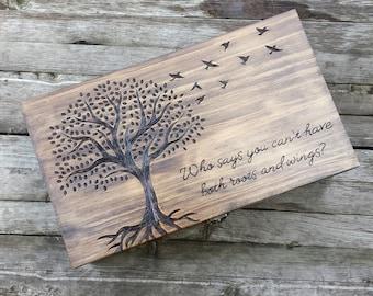 Rustic Wedding wine box, Custom Personalized Double Wine Box, Wedding Card box, wine box ceremony, love letter box, anniversary gift, birds