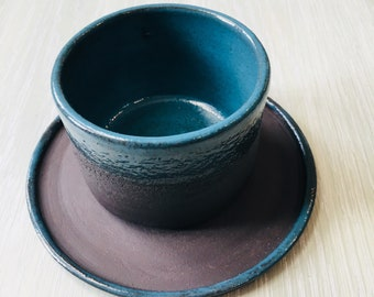 3. Ceramic cup in black clay and blue glaze. Coffee cup. Tea cup. Fckit cup.