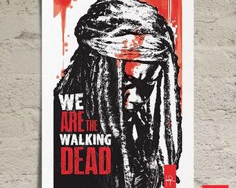 The Walking Dead Michonne Black & White Fan Art Print, Illustration, Pop Art, Modern Decor, Minimalist, Graphic Design, poster