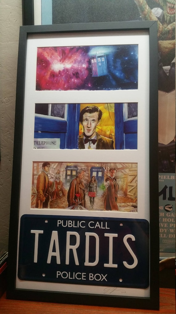 3 Framed Doctor Who prints with License Plate by Jim Ferguson