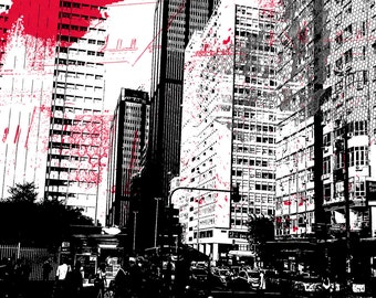 illustration print digital photo editing architecture town red Rouge lace A4