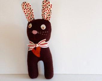 PLUSH CLOTH BUNNY Rabbit--Easter Bunny--Easter Basket Filler--Spring Rabbit--Brown Bunny--Polka Dots--Easter Gift--Soft Bunny Rabbit Doll
