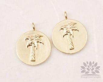 P875-03-MG// Matt Gold Plated Palm Tree Coin Pendant, 2pcs