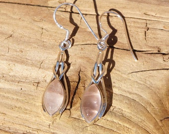 Sterling Silver Celtic Knot Marquise Rose Quartz Gemstone Pierced Earrings