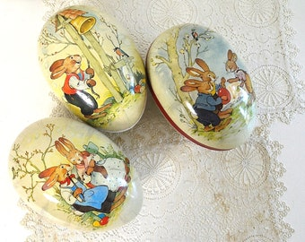 vintage style THREE Easter eggs paper mache Easter egg candy containers candy eggs