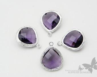 F100-S-VI// RhodiumFramed Violet Faceted Glass Stone Pendant, 2 pcs