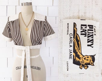 Cute 70's Crop Top Tie-Up Shrug Cream & Brown Stripe
