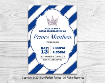 Personalised Prince Birthday Invitation, Little Prince, Blue, Boy, Children's Birthday Party Invitations - PACK OF 10