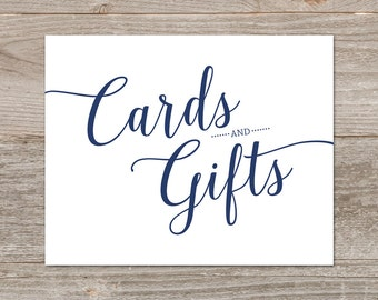 Navy Cards and Gifts Wedding Sign Printable // Navy Wedding Signage, Cards and Gifts Sign // Instant Download