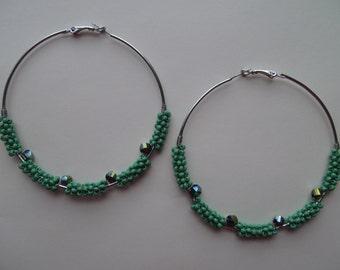 Green Seed Bead Hoop Earrings