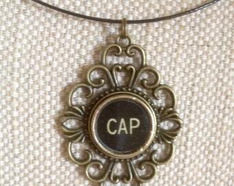 Typewriter key necklace / CAP key / 1904 Rex typewriter key / bronze tone pendant