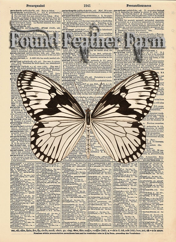 """Vintage Antique Dictionary Page with Antique Print """"White Cabbage Butterfly"""""""