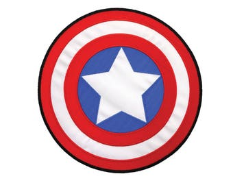 Captain America Iron On Applique, Genuine Marvel Iron On Patch, Shield Patch, Superhero Applique, Kids Patch, Embroidered Patch, 7x7