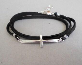 Leather Wrap Cross Bracelet - Sterling Silver Sideways Bracelet - Leather Jewelry - Cross - Gift
