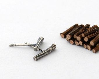 Bar stud earrings - sterling silver twig post earrings log studs