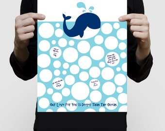 blue whale baby shower guest book print - signature guestbook, nautical, sea, beach themed nursery art, animal, kids birthday, 1st, bubbles
