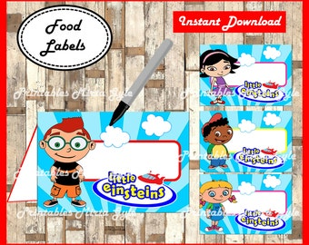 Little Einsteins Food labels, printable Little Einsteins party food tent cards , Little Einsteins food tent cards
