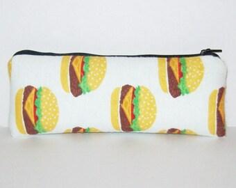 "Padded Pipe Pouch, Cheeseburger Bag, Pipe Case, Pipe Bag, Padded Pouch, Stoner Gift, Munchies Bag, Hamburger Bag, Vape Pen Bag - 7.5"" LARGE"