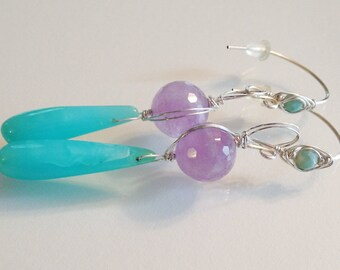 Peruvian Opal  with Lavendar Agate Earrings and Silver Wire Handmade