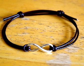 Infinity Bracelet, Leather Bracelet, Adjustable, Antique Silver Infinity Charm, Leather, Infinite Love, Friendship