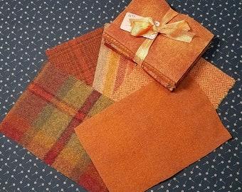 Bittersweet n' Pumpkins Wool Bundle - Great for Wool Applique and rug hooking projects