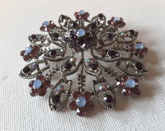 Purple brooch, silver tone