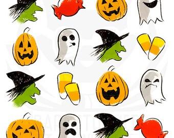 Halloween art print, modern Halloween, pumpkin art, candy corn, kid witch, friendly ghost, kids abstract art, 5x5, 8x8