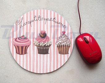 Cupcake Mousepad, Office Mousepad, Computer Mouse Pad, Fabric Mousepad