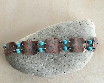 Women's link Bracelet - Turquoise - Small - cuff link - Handmade Copper Metal Artisan Jewelry