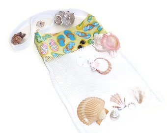 Sea Shell Collecting Bag, Mesh Tote Bag, Beach or Pool Toy Bag, Flip Flop Tote, Shoulder or Cross Body Bag, Beach Party, Gift For Girls