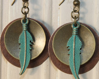 Turquoise Copper Earrings, Mixed Metal Earrings, Boho Earrings, Boho Jewelry, Bohemian Jewelry, Bohemian Earrings, Gift for her, Gift